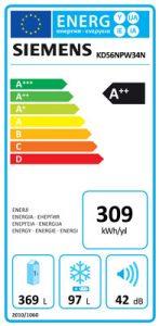 KD56NPW34N Enerji Etiketi, Siemens iQ500 KD56NPW34N 507 Lt noFrost Buzdolabı