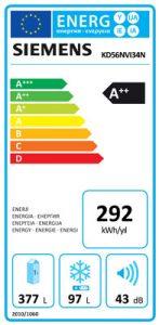 Siemens Buzdolabı: KD56NVI34N Enerji Etiketi