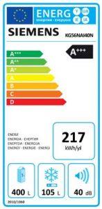 KG56NAI40N Siemens Buzdolabı Enerji Etiketi, KG56NAI40N A+++ 559 lt No-Frost Siemens Buzdolabı