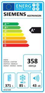 KG57NVW22N Enerji Etiketi, Siemens iQ100 KG57NVW22N 505 Lt noFrost Buzdolabı